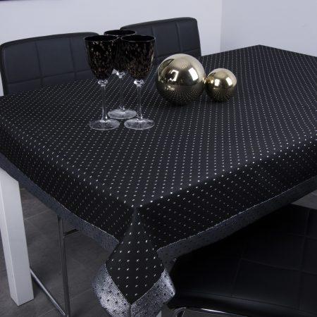Obrus Kropki Lux - Czarno-Srebrny