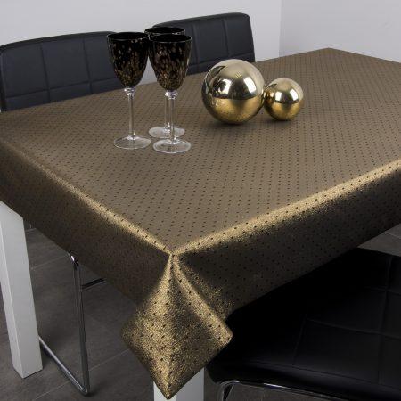 Obrus Kropki Lux - Czarno-Złoty